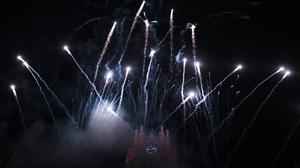 Fireworks explode over Madrid's City Hall building during the Cabalgata de Reyes, or the Three Wise Men parade, marking the eve of the Epiphany (AP)