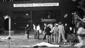 Rescuers at the scene after the bomb attack at Munich's Oktoberfest beer festival in September 1980 (Dieter Endlicher/AP)