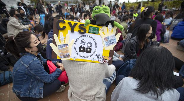 Protesters gather during a rally in Hong Kong (Mark Schiefelbein/AP)