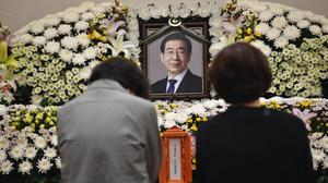 A portrait of the deceased Seoul mayor Park Won-soon is placed at a hospital in Seoul (Seoul Metropolitan Government/AP)