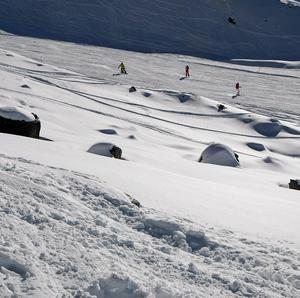 The rocks between the slopes where Michael Schumacher crashed (AP)