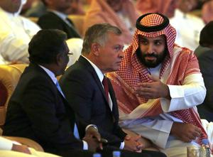 Prince, Mohammed talks to Jordan's King Abdullah II at the Future Investment Initiative summit (AP Photo/Amr Nabil)
