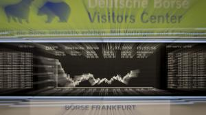 The curve of the German stock index DAX is seen at the stock market in Frankfurt, Germany, Tuesday, March 17, 2020, the day after German authorities spoke out more restrictions to avoid the spread out of the coronavirus. Only for most people, the new coronavirus causes only mild or moderate symptoms, such as fever and cough. For some, especially older adults and people with existing health problems, it can cause more severe illness, including pneumonia. (AP Photo/Michael Probst)