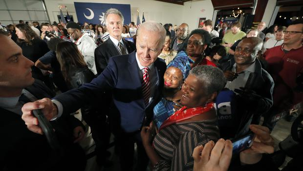 Former Vice President Joe Biden, takes photos with supporters after speaking at a campaign event in Columbia, South Carolina (Gerald Herbert/AP)
