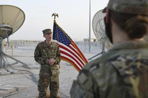 Colonel Todd Benson, the US Air Force Central Command director of space forces, at Al-Udeid Air Base (Staff Sgt Kayla White/US Air Force via AP)