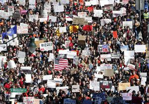 Students protest in Madison, Wisconsin (Steve Apps/AP)