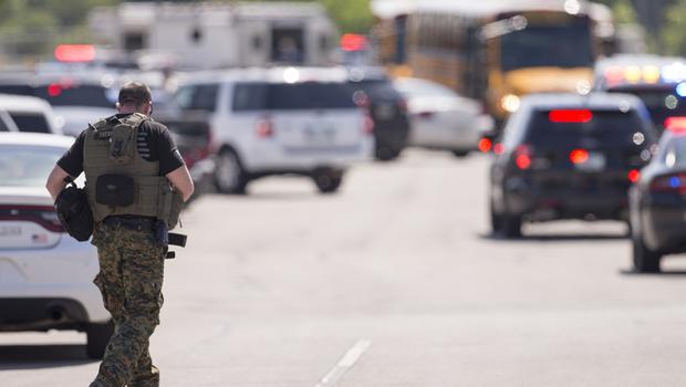 Emergency services outside Noblesville West Middle School (Robert Scheer/The Indianapolis Star via AP)