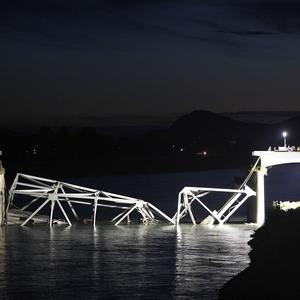 View looking west at a portion of the Interstate-5 bridge submerged after collapsing into a river in Washington state in the US (AP)