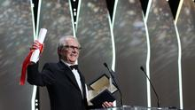 Director Ken Loach reacts after winning the Palme d'or for the film I, Daniel Blake (AP)