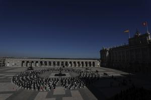 A state tribute in memory of Covid-19 victims at an esplanade in Madrid's Royal Palace (Photo/Manu Fernandez/AP)