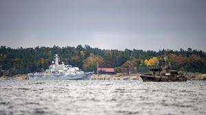 The Swedish minesweeper HMS Kullen was one of the boats searching for a suspected foreign vessel off Stockholm (AP)
