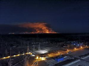 A forest fire seen from the roof of the Chernobyl nuclear power plant (Ukrainian Police Press Office/AP)