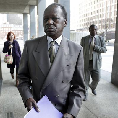 Onyango Obama, Barack Obama's Kenyan-born uncle, arrives at the US Immigration Court for a deportation hearing in Boston (AP)