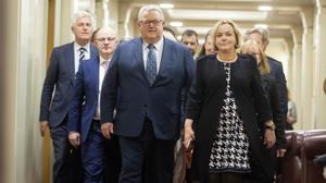 New leader of the New Zealand opposition National Party, Judith Collins, right, walks with new deputy leader Gerry Brownlee (Robert Kitchin/Pool Photo via AP)