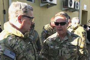 Army General Mark Milley (left) and General Scott Miller, the commander of US and coalition forces in Afghanistan (Robert Burns/AP)