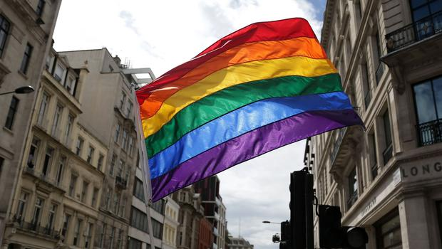 A rainbow flag in London (Daniel Leal-Olivas/PA)