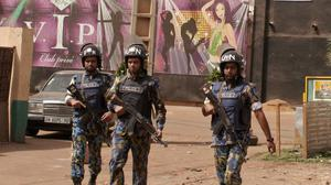 Armed forces provide security in Bamako, Mali, after a gunman killed five people in a nightclub (AP)