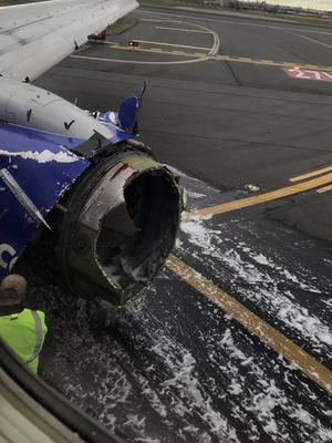 Damage to the Southwest Airlines plane (Matt Tranchin/AP)