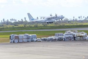 A World Food Programme(WFP) plane takes off from Beira (Tsvangirai Mukwazhi/AP)