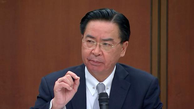 Taiwanese foreign minister Joseph Wu speaks during a briefing (Wu Taijing/AP)