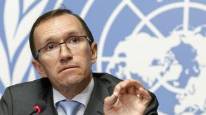UN envoy Espen Barth Eide speaks to the media one day before the resumption of Cyprus peace talks, in Geneva (Salvatore Di Nolfi/Keystone via AP)