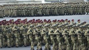 Azerbaijani troops march during the parade in Baku (AP)