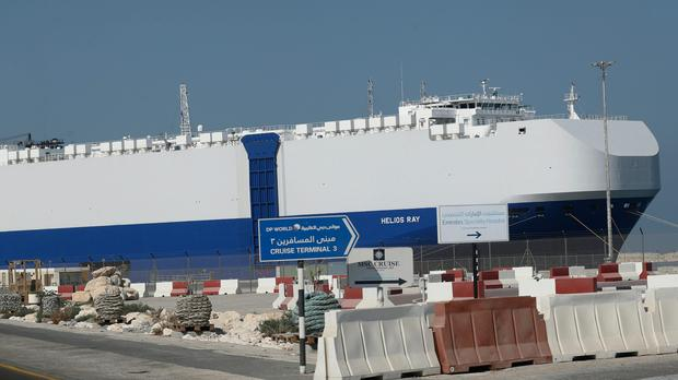 The Israeli-owned cargo ship, Helios Ray, sits docked in port after arriving earlier in Dubai, United Arab Emirates on Sunday (Kamran Jebreili/AP)