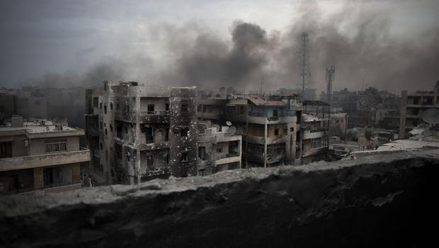 Smoke rises over Saif Al Dawla district, in Aleppo, Syria, in this file picture from October.