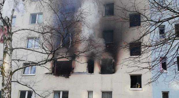This picture provided by the police in Magdeburg shows a house in Blankenburg, Germany, Friday, Dec. 13, 2019. Around 25 people have been injured and one person killed in an explosion in eastern Germany, according to police. (Polizei Magdeburg/dpa via AP)
