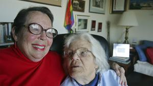 Phyllis Lyon, left, and her partner Del Martin, at their home in San Francisco (Eric Risberg/AP)