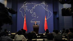 Chinese Foreign Ministry spokesman Geng Shuang speaks (Andy Wong/AP)