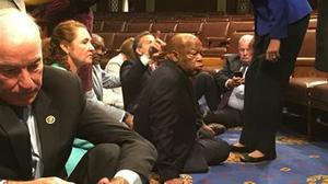 Photo provided by John Yarmuth shows Democrat members of Congress participate in sit-down protest seeking a vote on gun control measures (Rep John Yarmuth via AP)