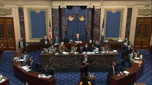 In this image from video, Michael van der Veen, an attorney for former President Donald Trump, speaks during the second impeachment trial of Trump in the Senate at the U.S. Capitol in Washington, Friday, Feb. 12, 2021. (Senate Television via AP)