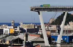 A view of the Morandi highway bridge after a section of it collapsed (Antonio Calanni/AP)