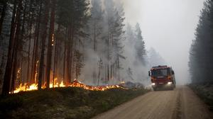A fire engine arrives at the scene of a wildfire in Karbole, outside Ljusdal (Mats Andersson/TT News Agency/AP)