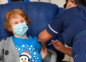 Margaret Keenan, 90, was the first patient in the UK to receive the Pfizer/BioNtech Covid-19 vaccine (Jacob King/PA)