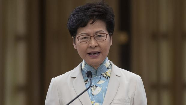 Hong Kong chief executive Carrie Lam speaks at a press conference in Thailand (Sakchai Lalit/AP)