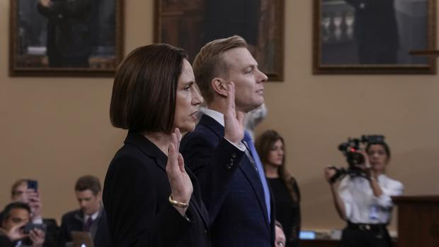 Former White House national security aide Fiona Hill, left, and David Holmes, a US diplomat in Ukraine, are sworn in to testify before the House (J Scott Applewhite/AP)