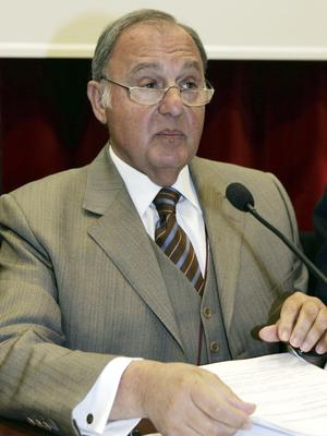 Paolo Savona, pictured here in 2005, was the League-favoured candidate for economy minister (Luca Bruno/AP)