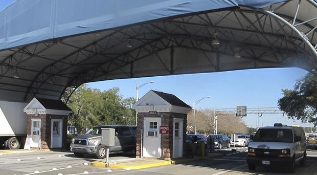The entrance to the Naval Air Base Station in Pensacola (Melissa Newton/AP)