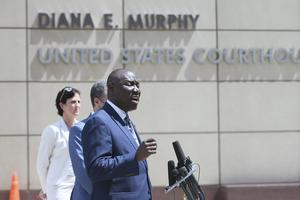 Ben Crump announced a civil lawsuit against the city of Minneapolis (Jim Mone/AP)
