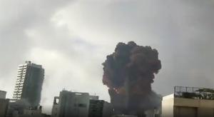 The explosion flattened much of the port and damaged buildings (@FadyRoumieh/Twitter)