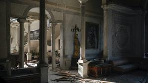 Broken glass and window frames lay on the floor of the Sursock Palace, heavily damaged after the explosion in Beirut, Lebanon (Felipe Dana/AP)