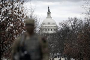 National Guard security is increased around the Capitol ahead of the inauguration of President-elect Joe Biden and Vice President-elect Kamala Harris (Wong Maye-E/AP)
