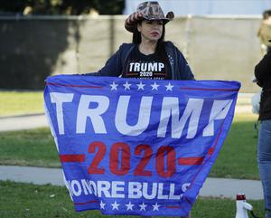 A Trump supporter in Beverly Hills, California (Damian Dovarganes/AP)
