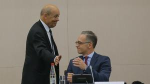 French foreign minister Jean-Yves Le Drian, left, and German foreign minister Heiko Maas (AP/Michel Euler)