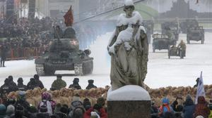 A Soviet World War II T-34 tank drives during a military parade at Dvortsovaya (Palace) Square during the celebration of the 75th anniversary of the end of the Siege of Leningrad during World War II in St.Petersburg, Russia, Sunday, Jan. 27, 2019. The Nazi German and Finnish siege and blockade of Leningrad, now known as St. Petersburg, was broken on Jan. 18, 1943 but finally lifted Jan. 27, 1944. More than 1 million people died mainly from starvation during the 900-day siege. (AP Photo/Dmitri Lovetsky)
