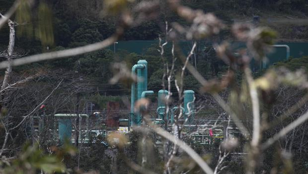 A geothermal plant is seen from the Leilani Estates subdivision near Pahoa (Jae C Hong/AP)