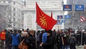 People in Macedonia attend a protest against the change of the country's name (Boris Grdanoski/AP)