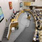 Pavel Krasheninnikov, of the constitutional reform working group, speaks during a session at the Russian State Duma (Alexander Zemlianichenko)